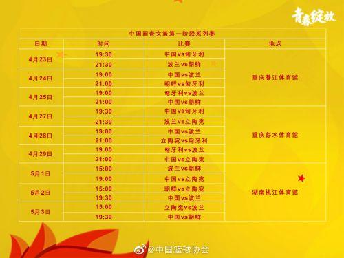完整赛程。图片来源:中国篮协官方微博